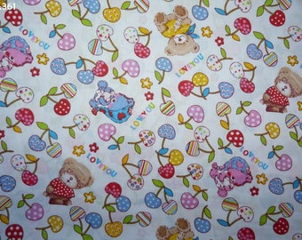 Fabric C361 Cubs and cherries on white coupon 50x50cm