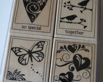 Wood - 4 rubber stamps - message stamp