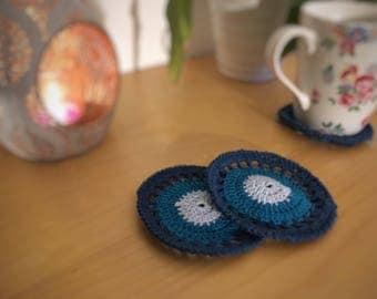 Set of 4 Crochet Coasters - Blue