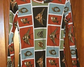 Vintage Fish Print Top M