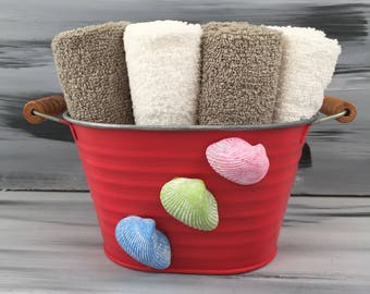 Red Beach Bathroom Bin - Beach Bathroom - Bathroom Wash Cloth Holder with Seashells. 4 gray wash cloths and 4 white wash cloths.