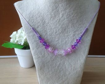 Necklace beads, tones: purple / pink