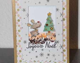 """Christmas card, Golden """"momentum and Christmas tree"""" 3D, glitter embossed glossy paper"""