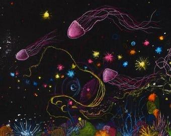 A5 Giclee Print: Deep Sea Jellyfish