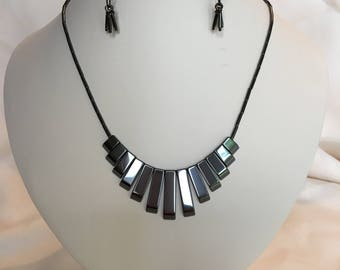 Black Hematite Egyptian Style Necklace and Earrings Set