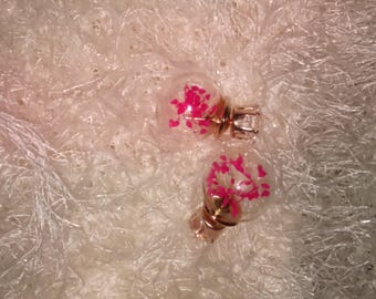 Double sided dried flower glass earrings