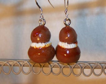 religious chocolate handmade fimo earrings