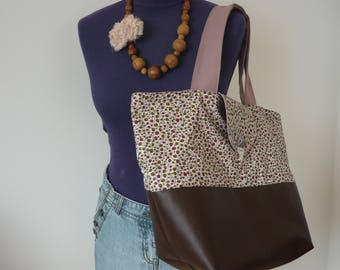 SC03 - Faux leather/Liberty tote bag - handmade