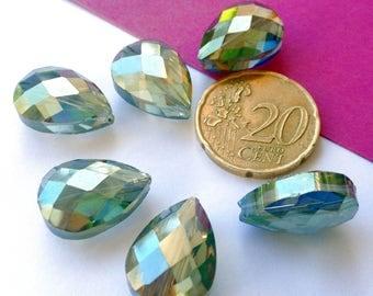 Pearl drops faceted Swarovski Crystal AB, 2 pearls 17X14x10mm (L90)