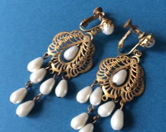 Miriam Haskell Chandelier Earrings c1940+
