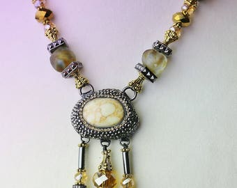 Yellow agate and hematite necklace