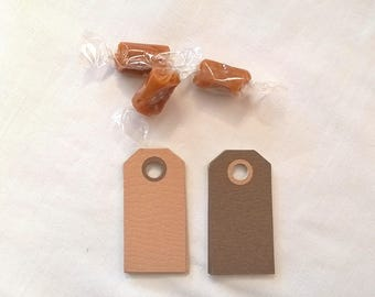20 tags two-tone beige/Brown cardboard textured
