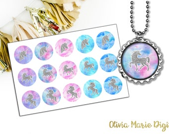 INSTANT DOWNLOAD - Unicorn Digital Image - 1 Inch Round - Bottlecap Image - Pendant Image - CU Approved - You Print - Unicorn Silhouette