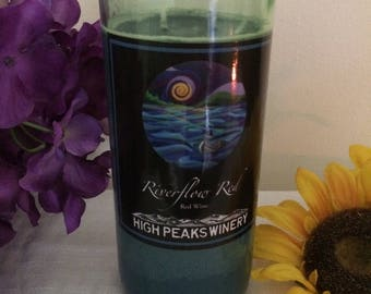 Blueberry Cobbler scented handcrafted repurposed wine bottle soy candle