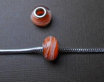 Orange pearl European Lampwork Glass