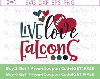 Live Love Falcons Svg, Football Svg, Design for Silhouette, Ccricut, Vinyl Design, Svg Sayings, Live Love Football Svg, Svg Quotes, SVG025