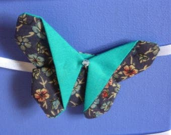 Turquoise floral Butterfly-shaped Alligator Clip