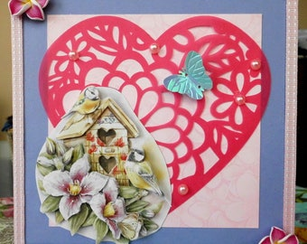 card 3D couple of chickadees on cut out heart