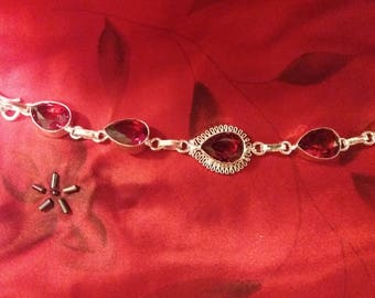 Sterling Silver and Garnet Bracelet 6 1/2 to 7 1/2 inches long