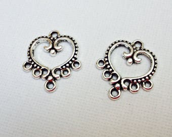 Set of 2 beautiful Silver MULTISTRAND connectors heart shape