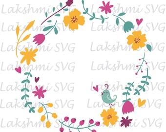 Flower frame, Flower Frame SVG , Flower SVG Files, Rose SVG File, Monogram Svg File, Flower Svg for Cricut Machine, Instant Download