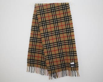 "Vintage Burberrys of London Nova Check Plaid Pattern  Cashmere Muffler Made in England 51.50"" X 12.50"""