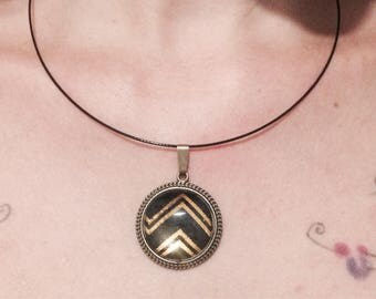 Gold Chevron pendant and black