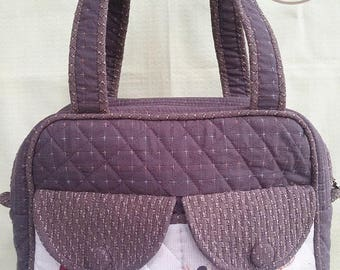 Women Shoulder Bag. Handbag. Stylish with 2 front lids.Made from Japanese Fabric.