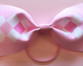 Pink and white large bow