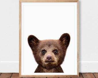 Bear Print, Baby Bear, Woodland Nursery Decor, Woodland Animals, Wall Art Print, Printable Kids Room Large Poster, Nursery Printable Art