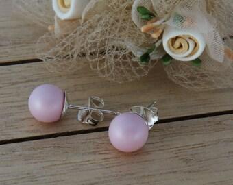 Rose Pink Studs, Swarovski Pink Bridal Earrings, Dusty Pink Studs, Pink Bridesmaid Earrings, Bridesmaid Gift, Wedding Jewelry