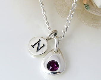 Birthstone Personalized Silver Initial Necklace, Sterling Silver Birthstone Necklace, Sterling Silver Necklace with Initial Charm