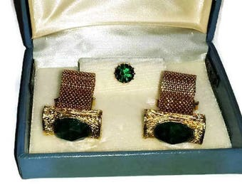 Gold and Green Cuff Links and Tie Pin
