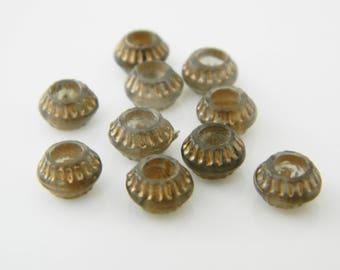 90 mm x 7mm (l1234) gray/gold rondelle bead