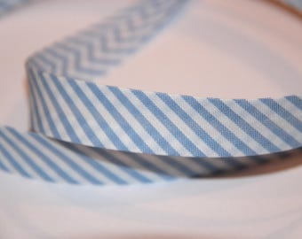 18MM STRIPES SKY POLYCOTTON BIAS AND WHITE