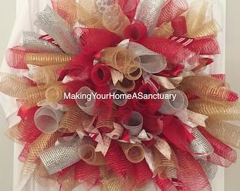 Lighted Christmas Mesh Wreath