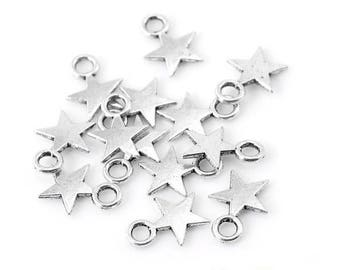 x 20 charms silver metal stars