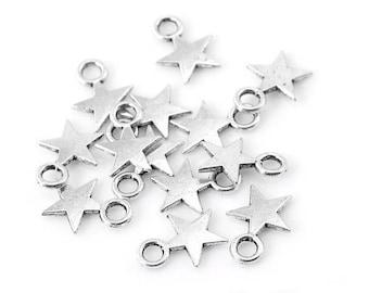 x 20 charms silver metal stars