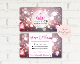 Paparazzi Business Cards, Free Personalized, Paparazzi Jewelry Consultant Card, Flower Stripe, For Vistaprint or Home Printing