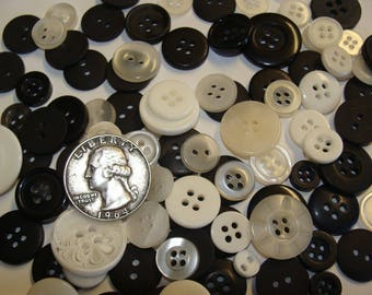 Mixed Button Lot! BLACK & WHITE Shades - FREE Shipping! Wholesale/Bulk/Discount/Supply Sewing/Crafts/Art (Salt and Pepper Mix)