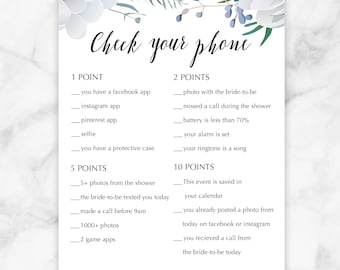 Floral Bridal Shower Check your Phone Game