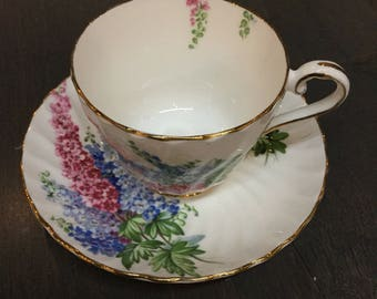 Aynsley Bone China teacup with wildflowers
