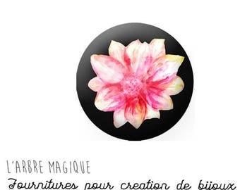 2 cabochons glue Fleur Rose Nénuphar glass 20 mm - ref 734