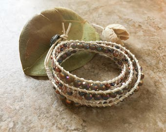Beaded Leather Wrap Bracelet, Purple and Gold Wrap Bracelet, Seed Bead Bracelet, Wrap Bracelet