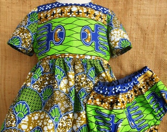 Baby and bloomer set dress, dress African baby fabric African wax blue-green, to see matching turban