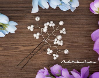 White Glass Pearl with Silver wire hair pin
