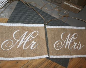 burlap and lace country MR & MRS wedding Chair decoration