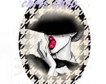 cabochon 18x25mm, high fashion, Black Hat