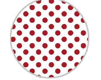 25mm cabochon red dots on white background