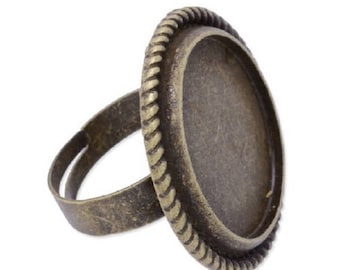 3 ring bronze cabochon 20mm